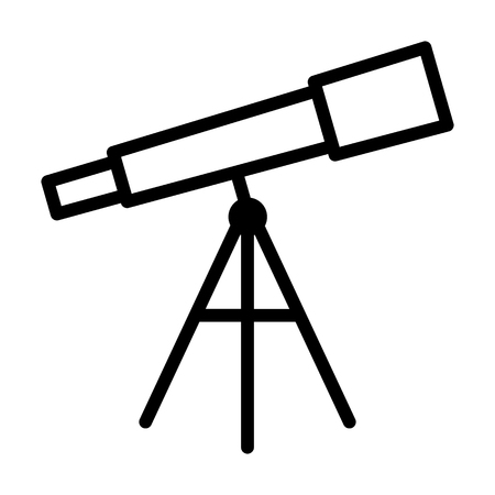 Optical telescope for observational astronomy line art vector icon for apps and websites