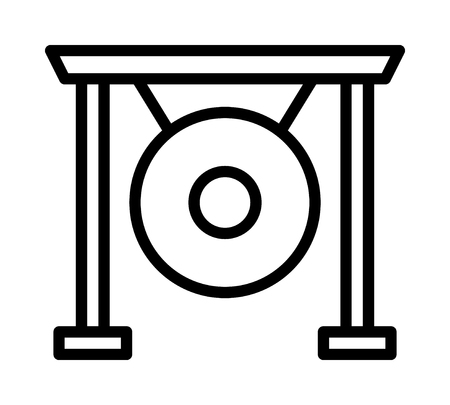 Asian suspended gong musical instrument line art vector icon for music apps and websites