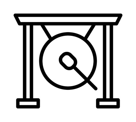Suspended gong musical instrument with mallet stick line art vector icon for music apps and websites