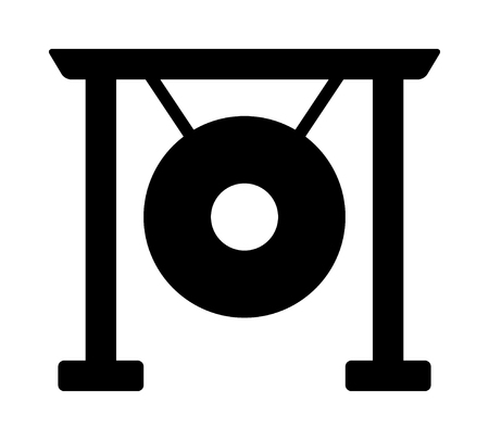 Asian suspended gong musical instrument flat vector icon for music apps and websites