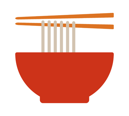 Vietnamese pho or Chinese lamian noodle soup bowl with chopsticks flat vector color icon for food apps and websites
