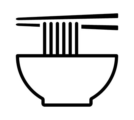 Vietnamese pho or Chinese lamian noodle soup bowl with chopsticks line art vector icon for food apps and websites