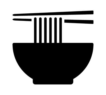 Vietnamese pho or Chinese lamian noodle soup bowl with chopsticks flat vector icon for food apps and websites Illustration