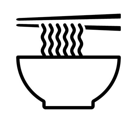 Bol de soupe de nouilles ramen avec icône de vecteur d'art de ligne de baguettes pour les applications alimentaires et les sites Web