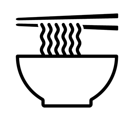 Ramen noodle soup bowl with chopsticks line art vector icon for food apps and websites 向量圖像