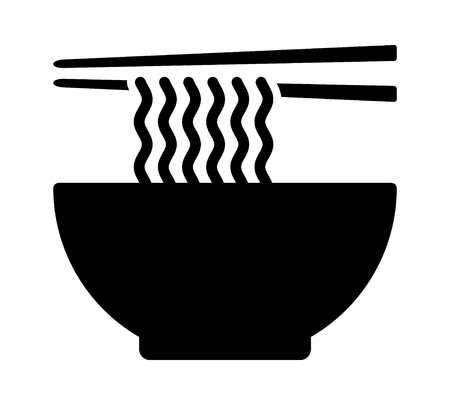 Ramen noodle soup bowl with chopsticks flat vector icon for food apps and websites Ilustrace