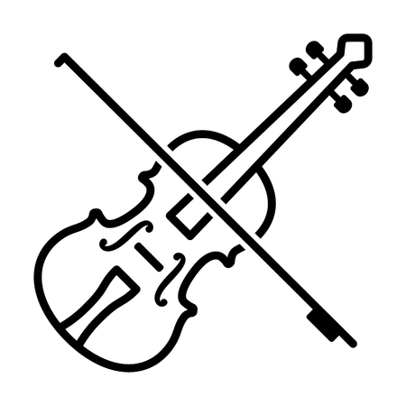Play violin with bow - string musical instrument line art vector icon for music apps and websites