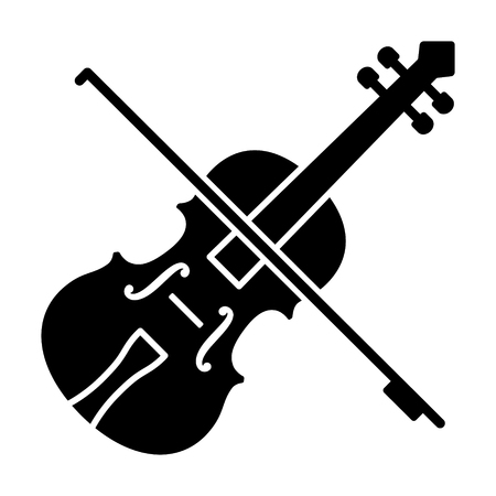 Play violin with bow - string musical instrument flat vector icon for music apps and websites Çizim