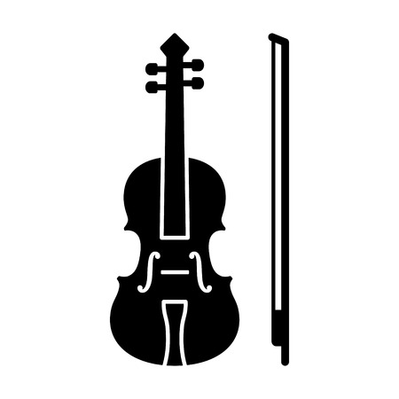 Classical violin with bow - string musical instrument flat vector icon for music apps and websites