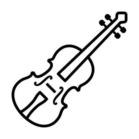 Violino classico - icona di vettore di linea di strumenti musicali a corde per app musicali e siti Web