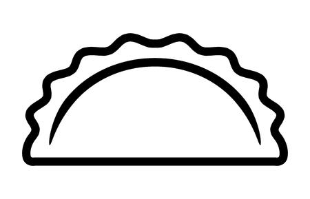 Knödel-, Potsticker- oder Jiaozi-Linien-Vektorsymbol für Lebensmittel-Apps und Websites