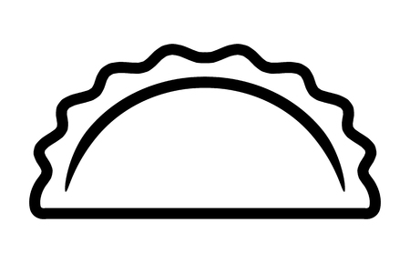 Dumpling, potsticker or jiaozi line art vector icon for food apps and websites Illustration