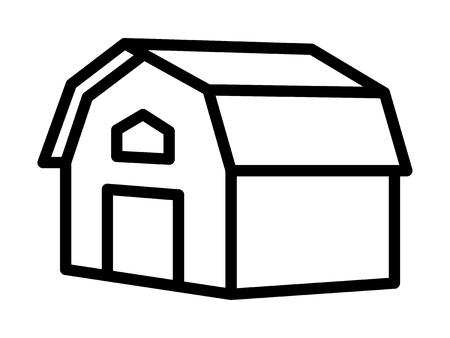 Western prairie barn house line vector icon for farm apps and websites