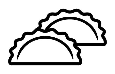 Due gnocchi, potstickers o icone vettoriali jiaozi line art per app alimentari e siti web