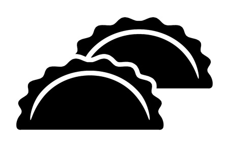 Two dumplings, potstickers or jiaozi flat vector icon for food apps and websites