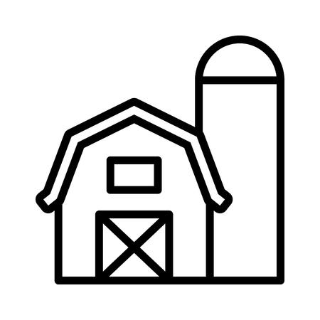 Maison de grange de prairie avec icône vectorielle d'art de ligne de silo de stockage de grain pour les applications agricoles et les sites Web