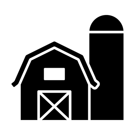 Prairie barn house with grain storage silo flat vector icon for farm apps and websites