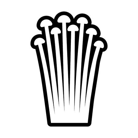 Enokitake or enoki mushroom  mushrooms line art vector icon for food apps and websites