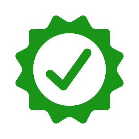 Certified or approved with checkmark check mark flat green vector icon for apps and websites