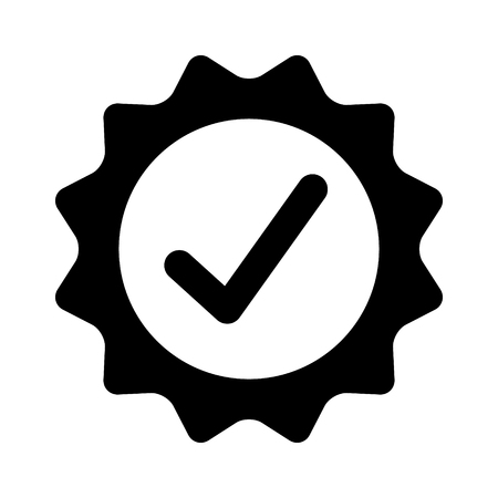 Certified or approved with checkmark check mark flat vector icon for apps and websites Illusztráció