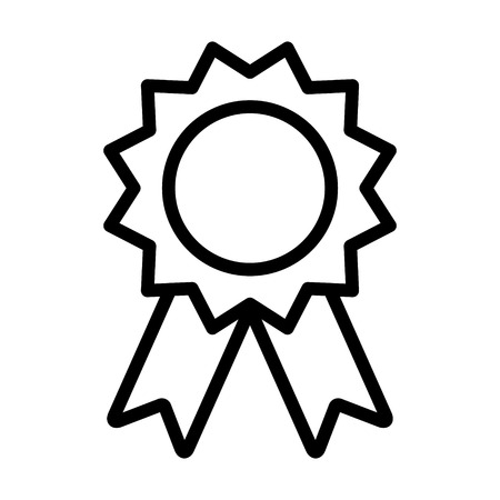 Award badge or winning prize ribbon line art vector icon for apps and websites