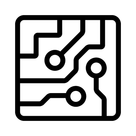 Computer chip circuit board semiconductors line art vector icon for apps and websites