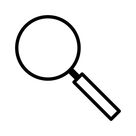 Magnifying glass search or detective investigation line art vector icon for apps and websites