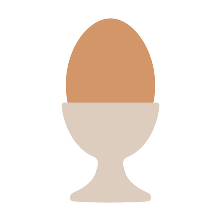 Egg cup server holder with brown hard boiled egg flat vector color icon for food apps and websites