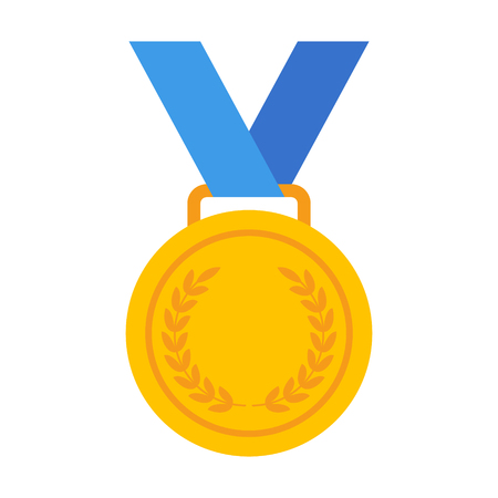 Yellow Gold medal with blue ribbon flat vector icon for sports apps and websites Illustration