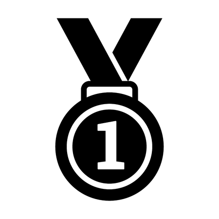 First 1st place gold medal with number 1 and ribbon flat vector icon for sports apps and websites