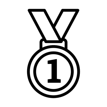 First 1st place gold medal with number 1 and ribbon line art vector icon for sports apps and websites Illustration