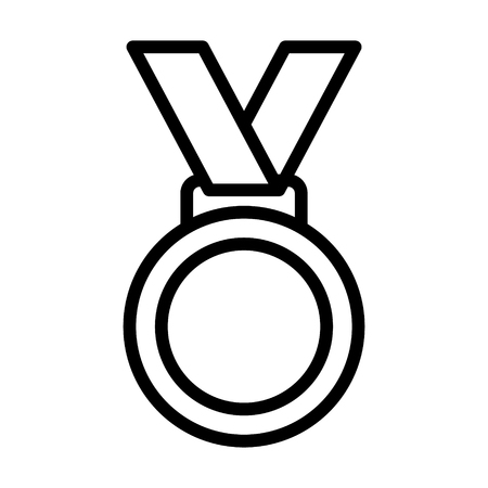 Gold medal with ribbon line art vector icon for sports apps and websites