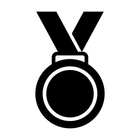 Gold medal with ribbon flat vector icon for sports apps and websites