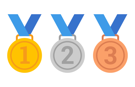 Gold, silver and bronze medals with 1st, 2nd and 3rd place numbers flat vector icons for sports apps and websites