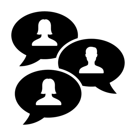 Group chat bubbles or forum discussion with men and women chatting flat vector icon for apps and websites Illustration