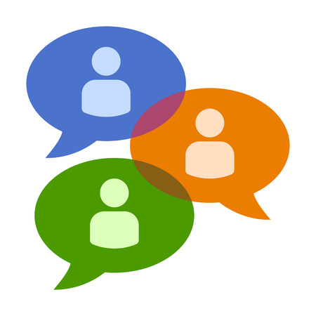 Group chat bubbles or forum discussion with multiple people chatting flat color vector icon for apps and websites