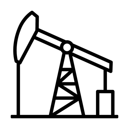 Oil pump jack or petrol pumpjack line art vector icon for gasoline apps and websites