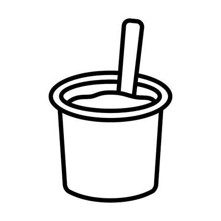 Yogurt  yoghurt cup with spoon flat vector icon for food apps and websites