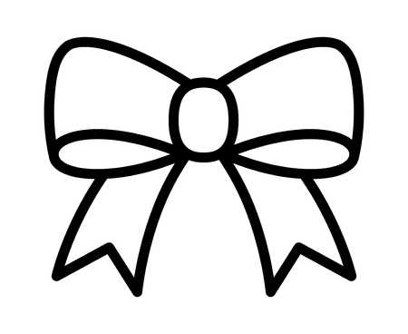 Bow ribbon or riband gift decoration line art vector icon for apps and websites