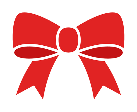 Red bow ribbon or riband gift decoration line art vector icon for apps and websites