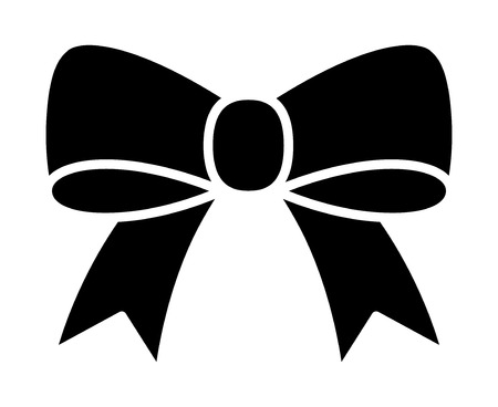 Bow ribbon or riband gift decoration flat vector icon for apps and websites Illustration