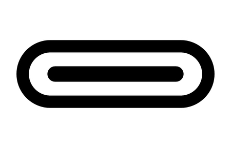 USB Type C or USB 4 connector cable line art vector icon for apps and websites 向量圖像