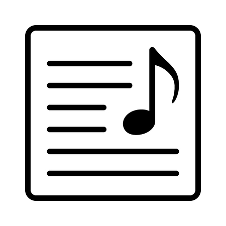 Song lyrics or music sheet line art vector icon for music apps and websites