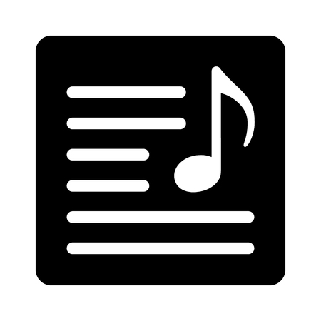 Song lyrics or music sheet flat vector icon for music apps and websites 일러스트