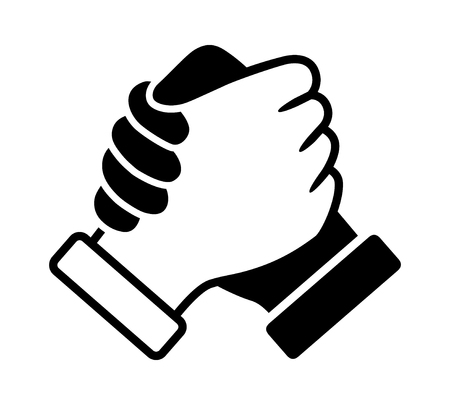 Black and white soul brother handshake, thumb clasp handshake or homie handshake flat vector icon