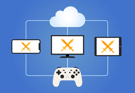 Cloud gaming streaming service with smartphone, tablet, HDTV and game controller vector illustration