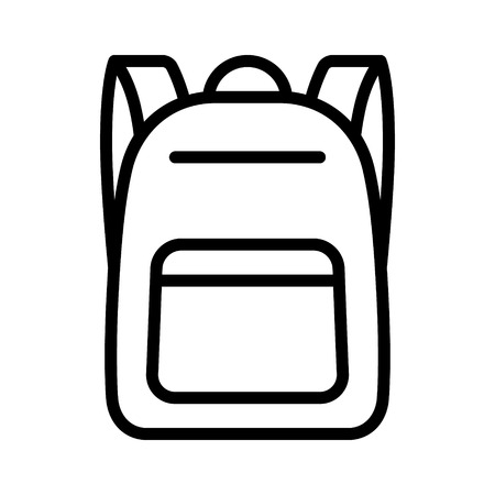 Schoolbag  school bag backpack with straps line art vector icon for apps and websites Stock Illustratie