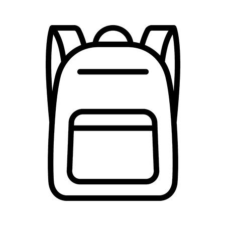 Schoolbag  school bag backpack with straps line art vector icon for apps and websites Ilustração