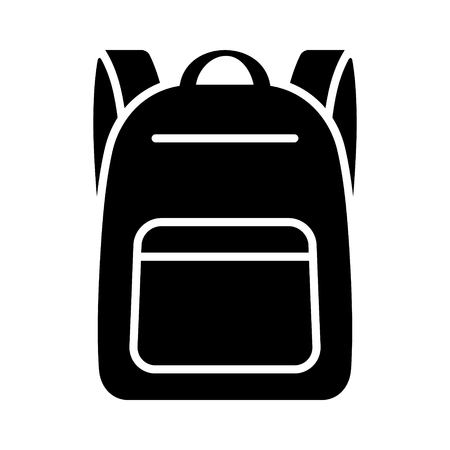 Schoolbag  school bag backpack with straps flat vector icon for apps and websites