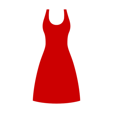 Red knee length dress or gown flat vector icon for fashion apps and websites